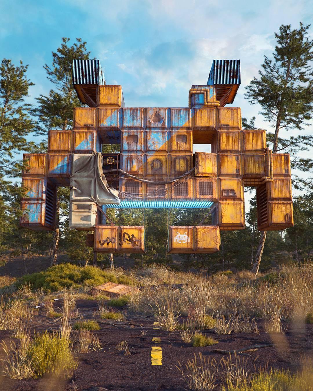 Filip Hodas's dystopian pop culture digital art